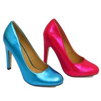 View Item LADIES EX-DESIGNER PINK OR BLUE METALLIC ROUNDED-TOE COURT SHOES SIZES 3-8